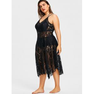 Plus Size Spaghetti Strap Lace Handkerchief Dress -