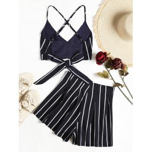 Stripe Cami Wrap Top With High Waisted Shorts -