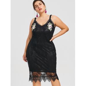 Plus Size Floral Embroidered Lace Dress -