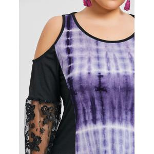 Plus Size Lace Insert Tie Dye Dress -