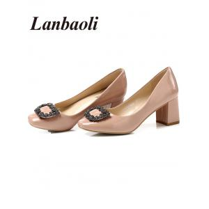 Lanbaoli Bright PU Leather Rhinestone Decorate High Heels -