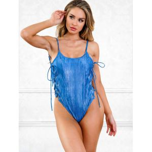 High Waisted Lace-up One Piece Swimsuit -