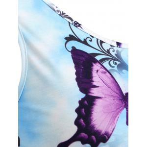 Plus Size Asymmetric Lace Butterfly Tank Top -
