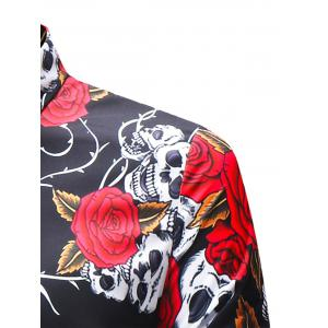 Turndown Collar Rose and Skull Print Shirt -