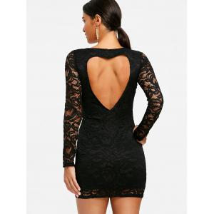 Heart Back Long Sleeve Lace Dress -