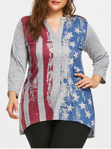 Shop Plus Size American Flag Dip Hem Tunic T-shirt