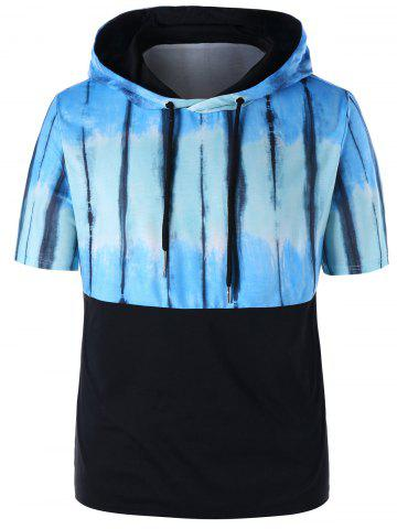 Fancy Tie Dye Drawstring Short Sleeve Hoodie