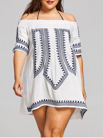 Store Plus Size Off Shoulder Geometric Embroidered Cover Up
