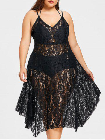 Fancy Plus Size Spaghetti Strap Lace Handkerchief Dress