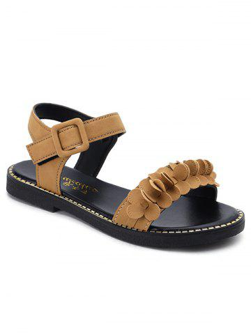 Two Strap PU Leather Floral Buckled Sandals - School Bus Yellow - 38