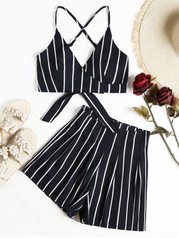Unique Stripe Cami Wrap Top With High Waisted Shorts