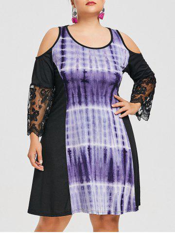 Buy Plus Size Lace Insert Tie Dye Dress