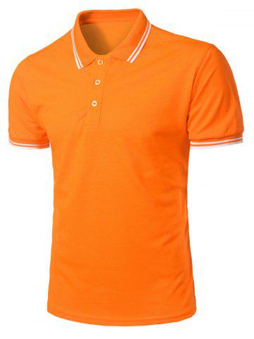 Shops Stripe Trim Half Button Casual Polo Shirt