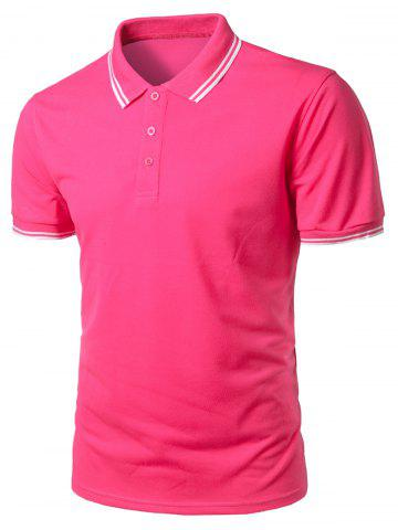 Trendy Stripe Trim Half Button Casual Polo Shirt