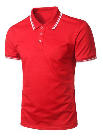 Buy Stripe Trim Half Button Casual Polo Shirt