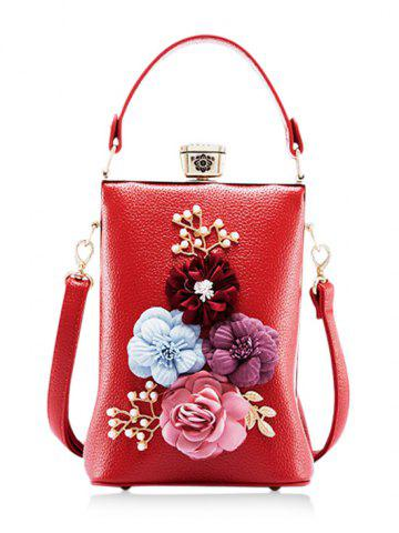 Fashion Faux Pearls Flowers Crossbody Bag with Handle