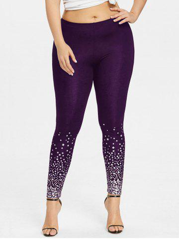 Discount Plus Size Stars Pattern Leggings