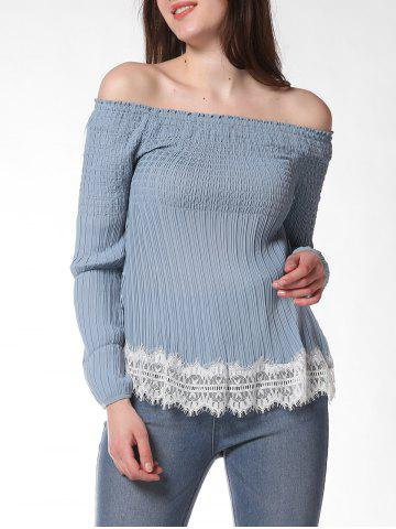 FRENCH BAZAAR Lace Decorate Cold Shoulder Long Sleeve Top