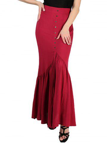 FRENCH BAZAAR Button High Waisted Long Pleated Skirt