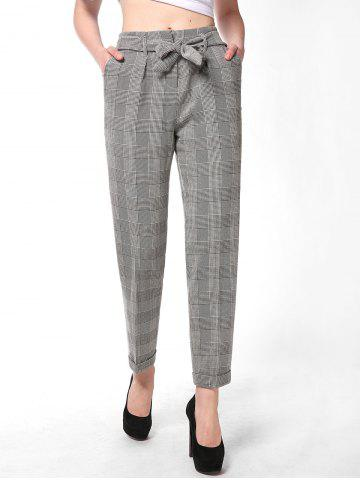 FRENCH BAZAAR Striped Plaid Casual Long Suit Pants