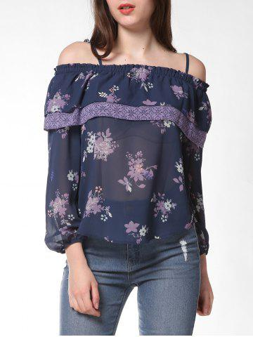 FRENCH BAZAAR Strap Cold Shoulder Floral Print Ruffle Top - SLATE BLUE - S