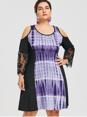 Plus Size Lace Insert Tie Dye Dress