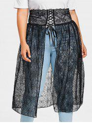 Plus Size Asymmetrical Web Lace Skirt -