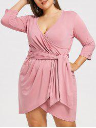 Surplice Plus Size Asymmetrical Dress -