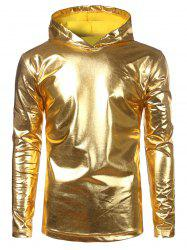 Long Sleeve Metallic Color Hooded Tee -