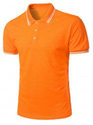 Stripe Trim Half Button Casual Polo Shirt -