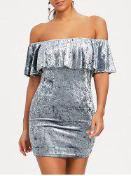 Velvet Off Shoulder Bodycon Party Dress -