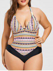 Plus Size Geometric Halter Swimsuit -