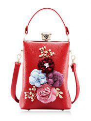 Faux Pearls Flowers Crossbody Bag with Handle -