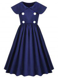 Double Breasted High Waisted Flare Dress -