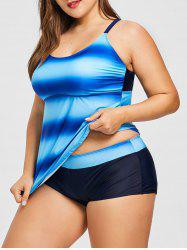 Plus Size Strappy Ombre Tankini Set -