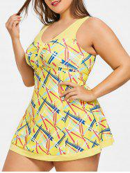 Padded Plus Size Geometric Pattern Tankini Set -