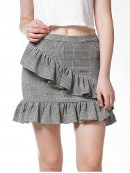 FRENCH BAZAAR Plaid Swing Ruffle Bodycon Mini Skirt -