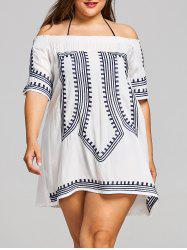 Plus Size Off Shoulder Geometric Embroidered Cover Up -