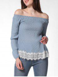 FRENCH BAZAAR Lace Decorate Cold Shoulder Long Sleeve Top -