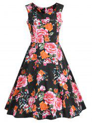 High Waisted Sweetheart Neck Floral Swing Dress -