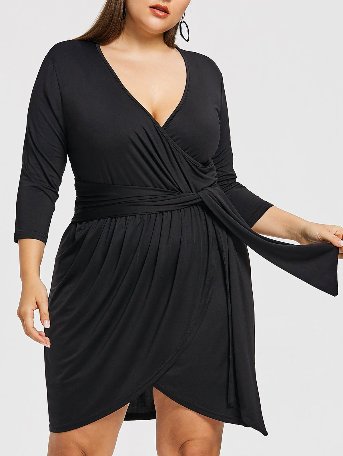 Trendy Surplice Plus Size Asymmetrical Dress