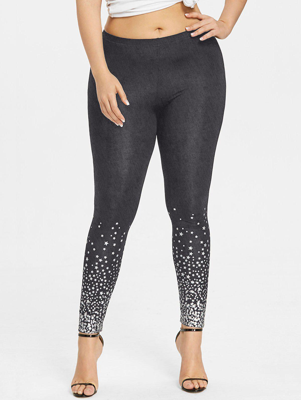Online Plus Size Stars Pattern Leggings