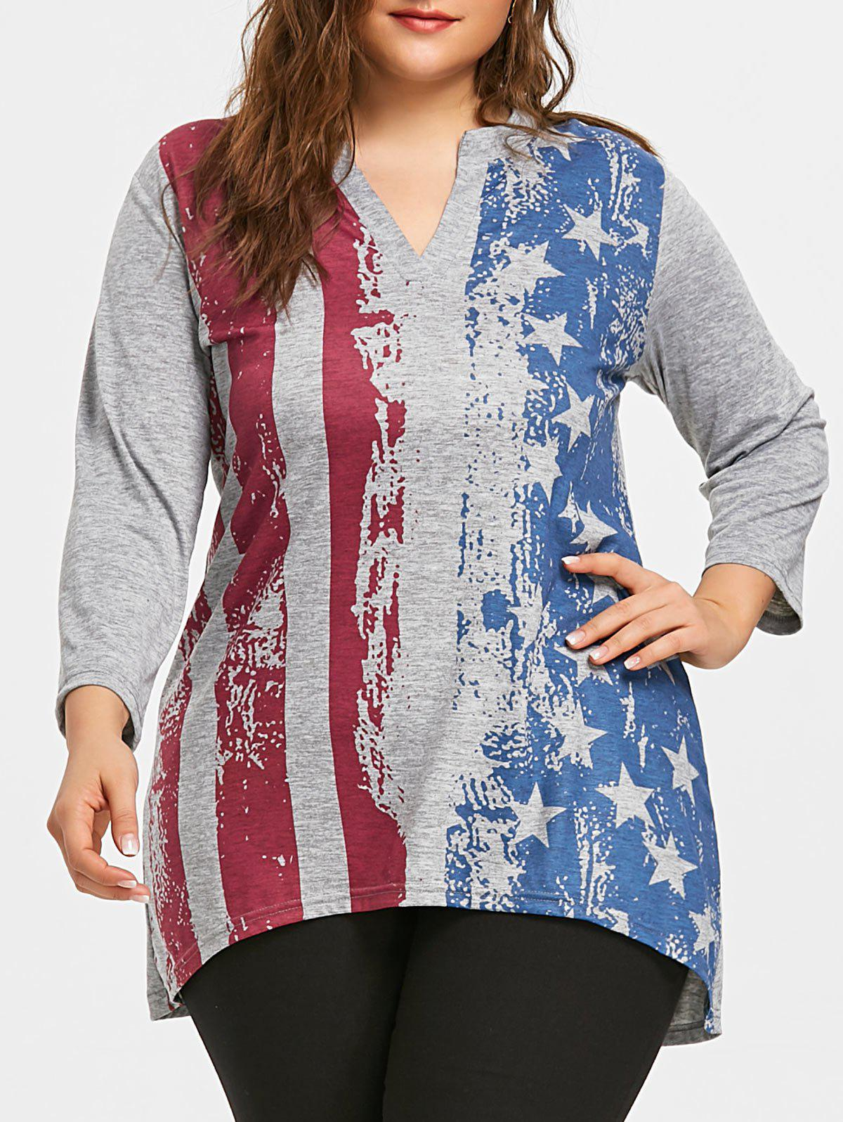 Chic Plus Size American Flag Dip Hem Tunic T-shirt
