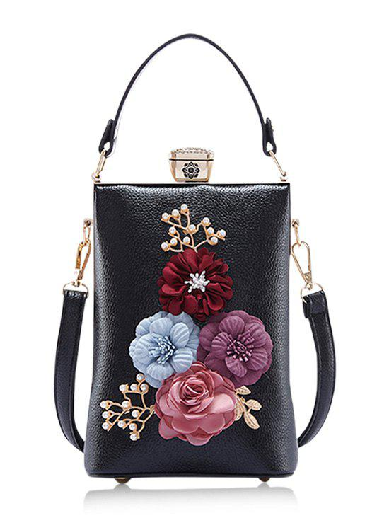 Outfit Faux Pearls Flowers Crossbody Bag with Handle