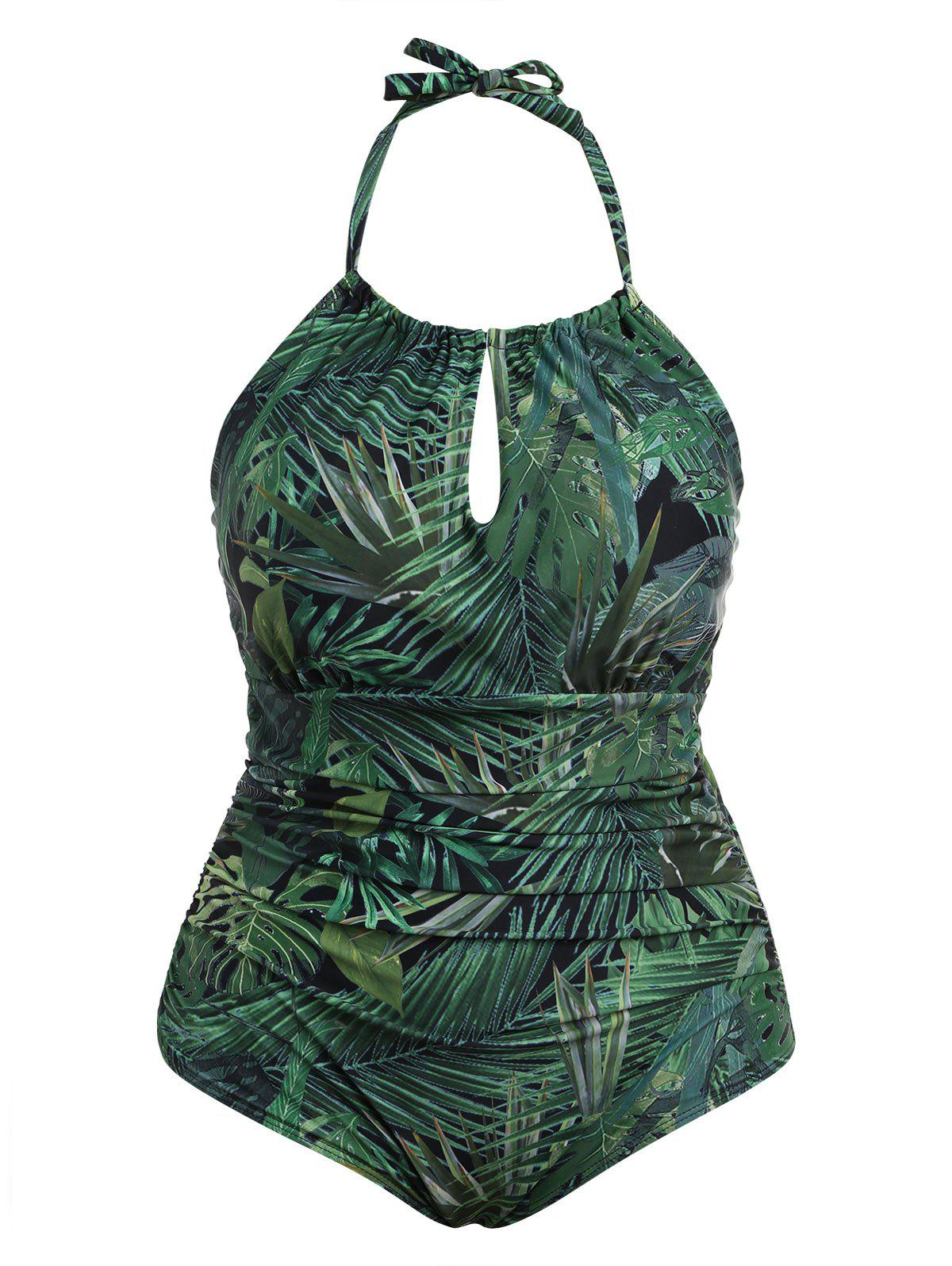 Discount Plus Size Leaf Print Halter One Piece Swimsuit
