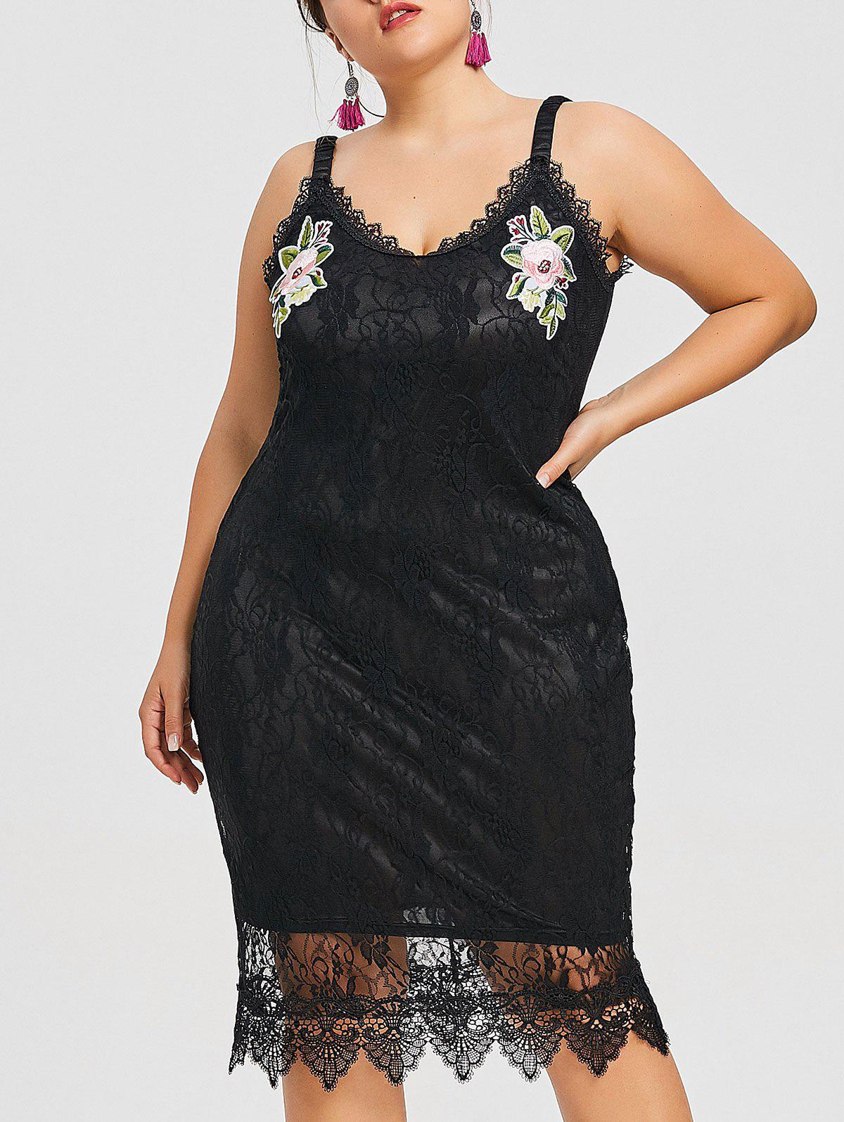 Trendy Plus Size Floral Embroidered Lace Dress
