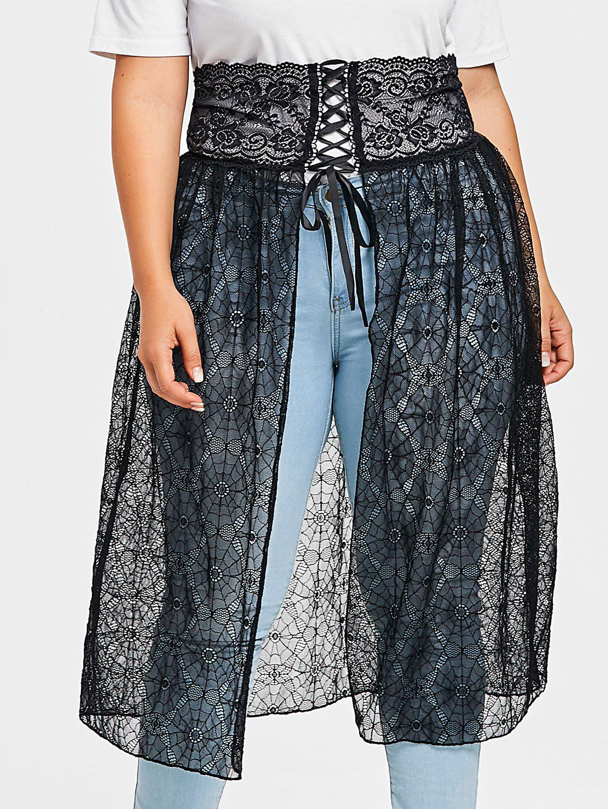 Hot Plus Size Asymmetrical Web Lace Skirt