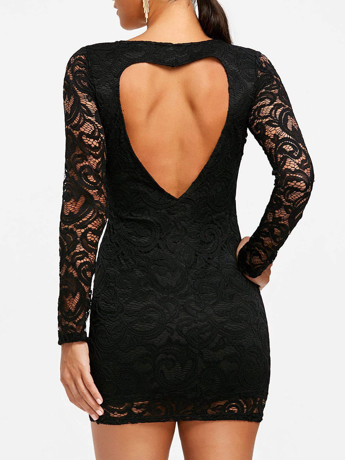 Cheap Heart Back Long Sleeve Lace Dress