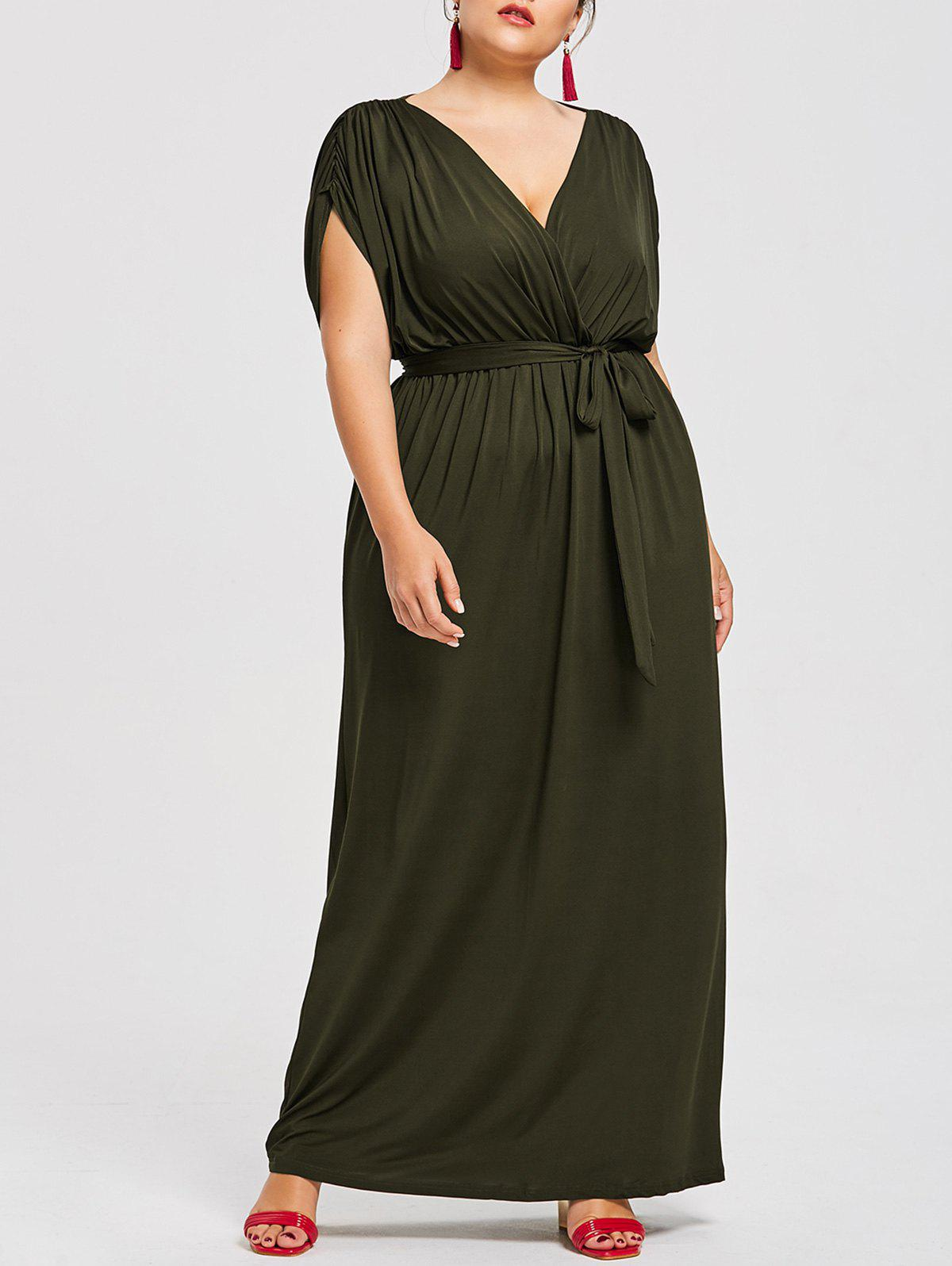 Unique Short Sleeve Plus Size Longline Dress