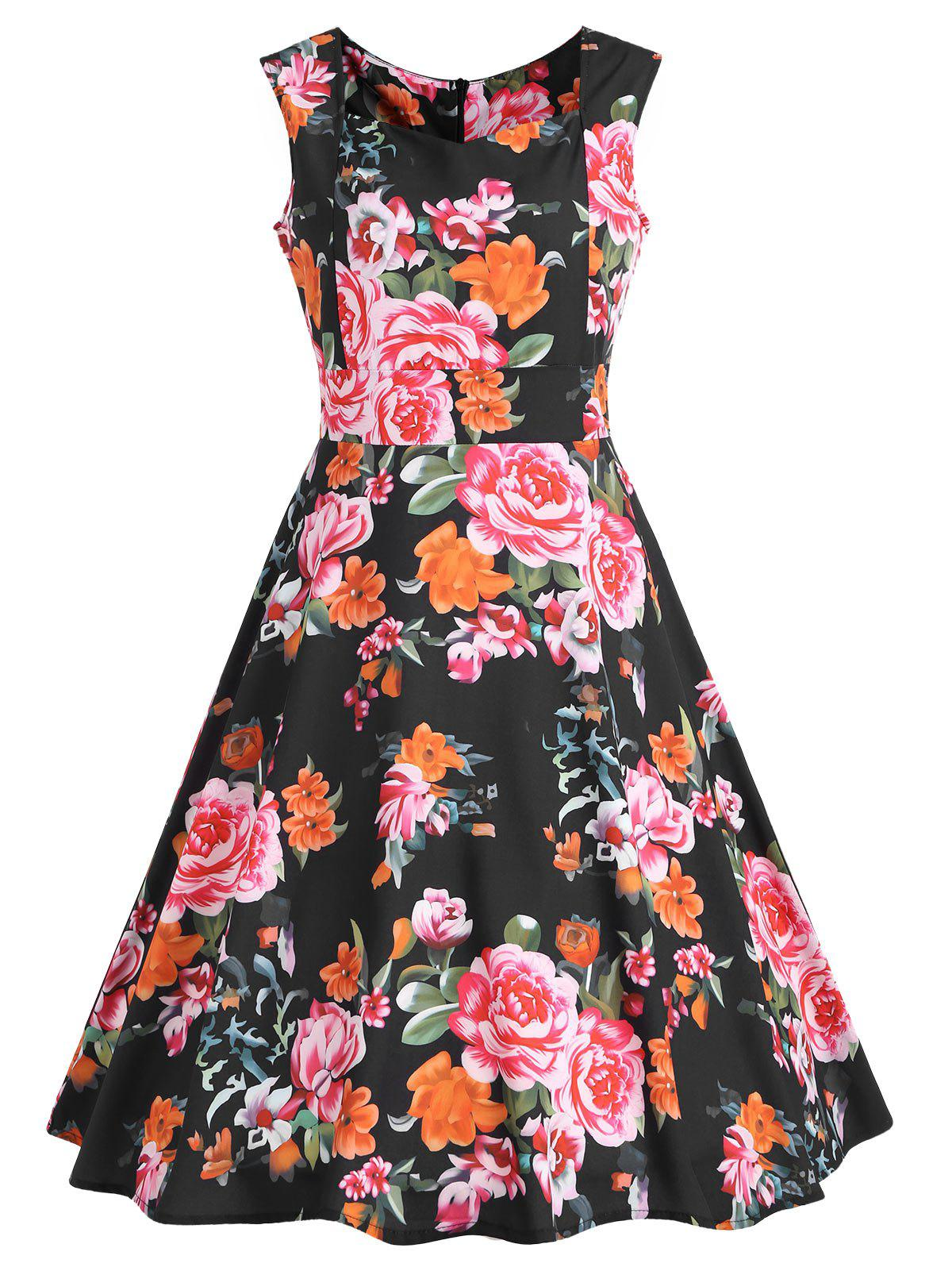 Fashion High Waisted Sweetheart Neck Floral Swing Dress